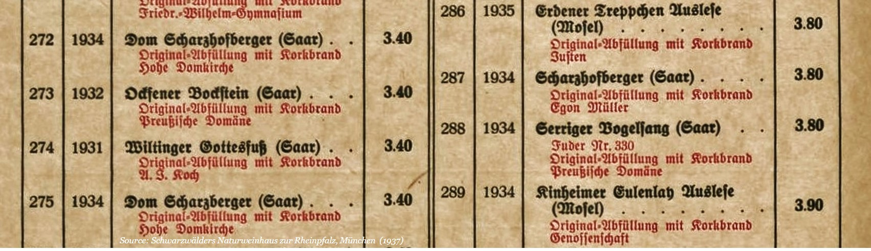 Winelist | Restaurant | Munich | 1937