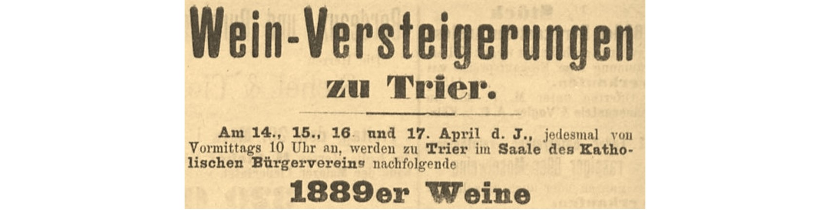 Trier Auctions | History | Announcement from 1889