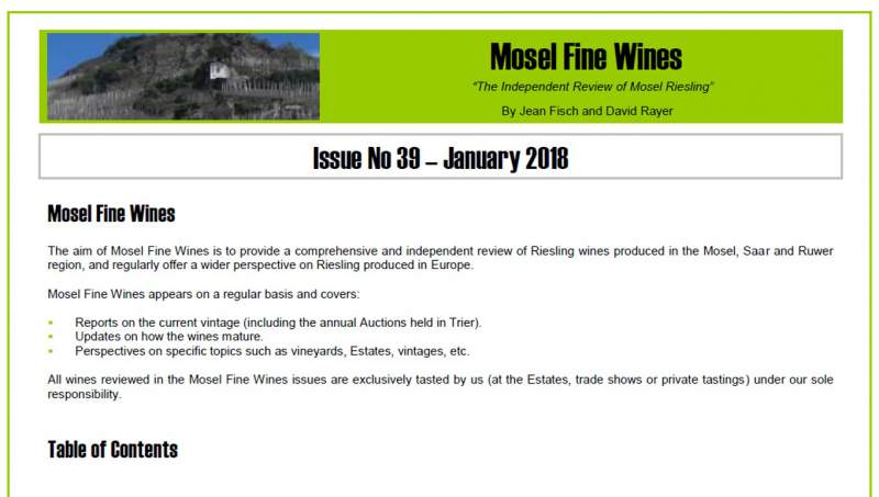 Mosel Fine Wines | Report | Issue No 39 | January 2018