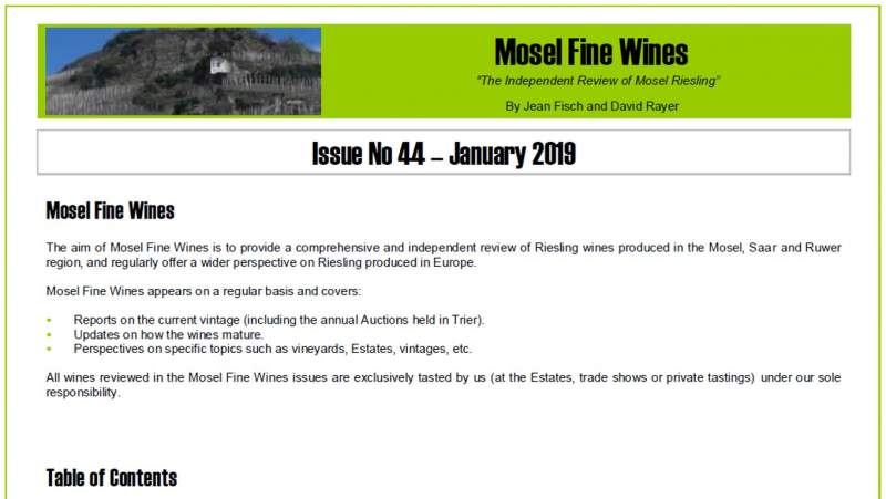 Mosel Fine Wines | Report | Issue No 44 | January 2019